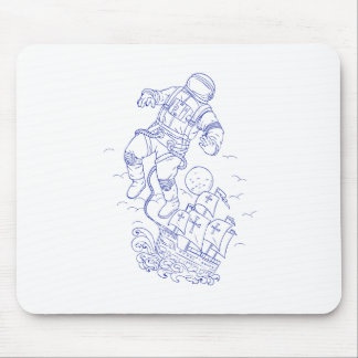 Astronaut Tethered Caravel Ship Drawing Mouse Pad