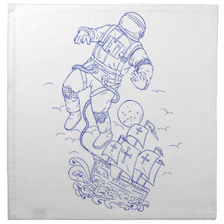 Astronaut Tethered Caravel Ship Drawing Napkin