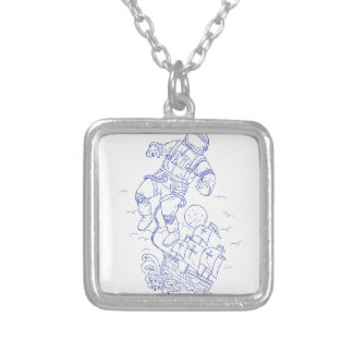 Astronaut Tethered Caravel Ship Drawing Silver Plated Necklace