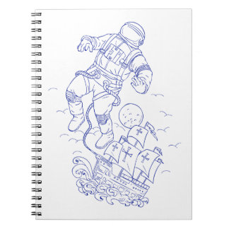 Astronaut Tethered Caravel Ship Drawing Spiral Notebook