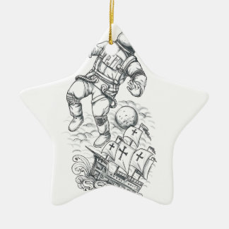Astronaut Tethered to Caravel Tattoo Ceramic Ornament