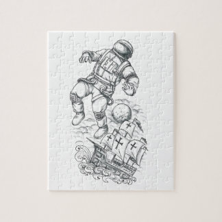 Astronaut Tethered to Caravel Tattoo Jigsaw Puzzle