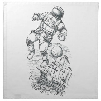 Astronaut Tethered to Caravel Tattoo Napkin