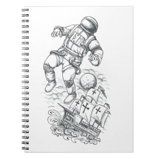 Astronaut Tethered to Caravel Tattoo Notebook