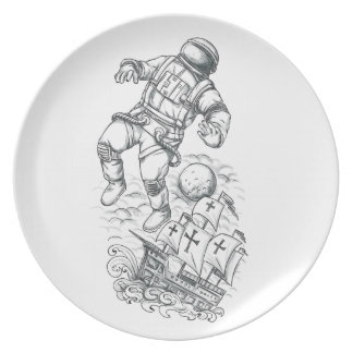 Astronaut Tethered to Caravel Tattoo Plate