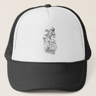 Astronaut Tethered to Caravel Tattoo Trucker Hat