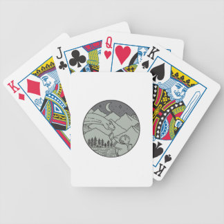 Astronaut Touching Brontosaurus Circle Mono Line Bicycle Playing Cards
