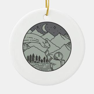 Astronaut Touching Brontosaurus Circle Mono Line Ceramic Ornament