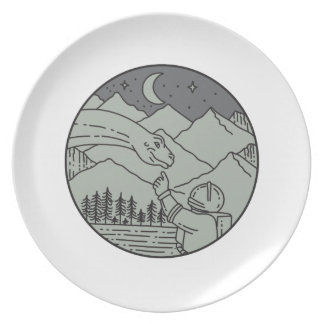 Astronaut Touching Brontosaurus Circle Mono Line Dinner Plates