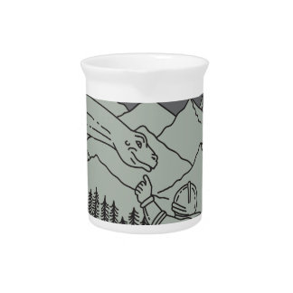 Astronaut Touching Brontosaurus Circle Mono Line Drink Pitcher