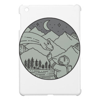 Astronaut Touching Brontosaurus Circle Mono Line iPad Mini Cover
