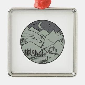 Astronaut Touching Brontosaurus Circle Mono Line Metal Ornament