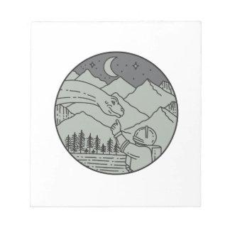 Astronaut Touching Brontosaurus Circle Mono Line Notepad