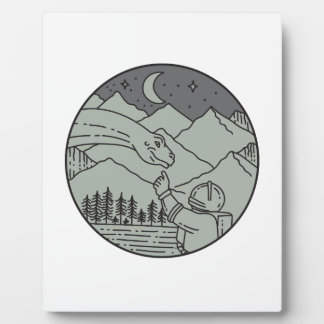 Astronaut Touching Brontosaurus Circle Mono Line Plaque