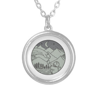 Astronaut Touching Brontosaurus Circle Mono Line Silver Plated Necklace