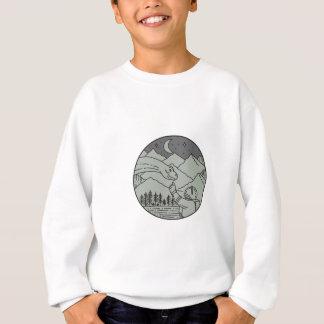 Astronaut Touching Brontosaurus Circle Mono Line Sweatshirt