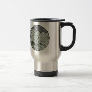 Astronaut Touching Brontosaurus Circle Mono Line Travel Mug