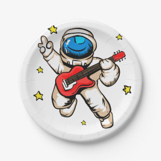 Astronaut victory gesture paper plate