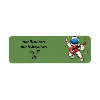 Astronaut victory gesture return address label