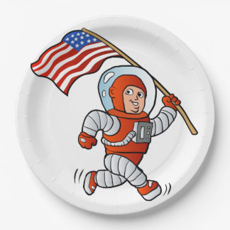 Astronaut with american flag 9 inch paper plate