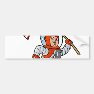 Astronaut with american flag bumper sticker