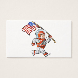 Astronaut with american flag business card