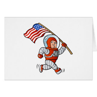Astronaut with american flag card