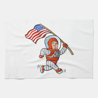 Astronaut with american flag kitchen towels