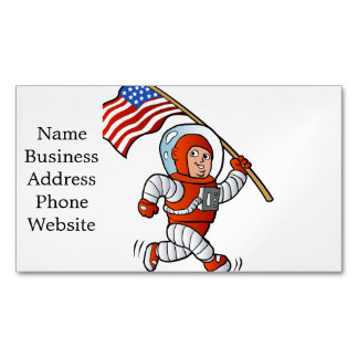Astronaut with american flag magnetic business cards