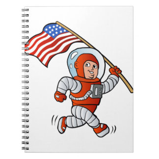 Astronaut with american flag note books