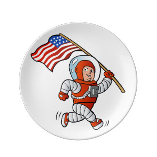 Astronaut with american flag porcelain plate