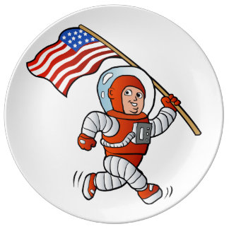 Astronaut with american flag porcelain plates