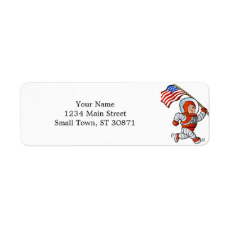 Astronaut with american flag return address label