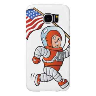 Astronaut with american flag samsung galaxy s6 cases