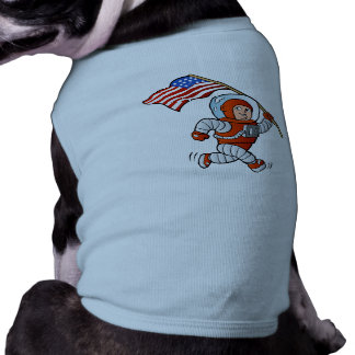 Astronaut with american flag sleeveless dog shirt