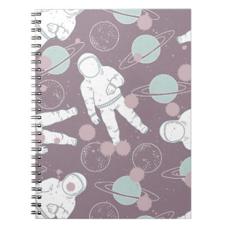 Astronauts in Space Pattern Spiral Notebook