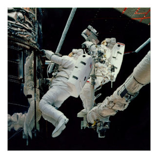 Astronauts working on the Hubble Poster