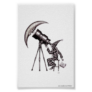 Astronomer and moon surreal black and white art poster