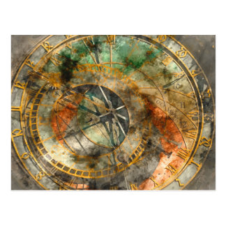 Astronomical clock in Prague Czech Rebulic Postcard