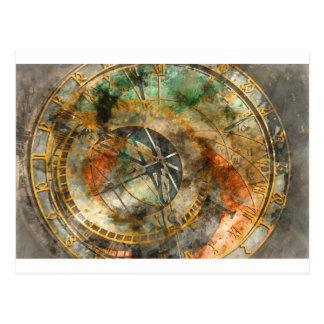 Astronomical Clock in Prague Czech Republic Postcard