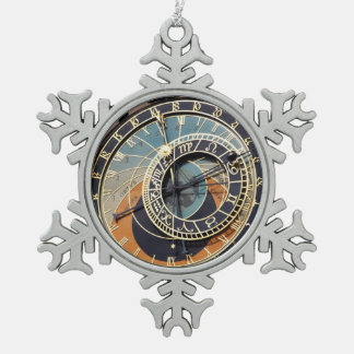 Astronomical Clock In Prague Snowflake Pewter Christmas Ornament