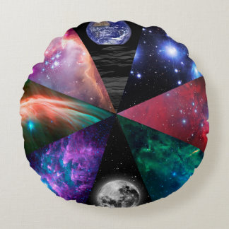 Astronomy Collage Round Cushion