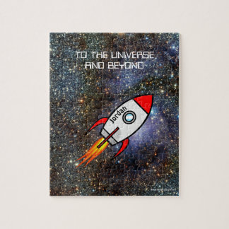 Astronomy custom name and text rocket jigsaw puzzle