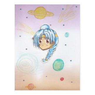 Astronomy Expert Miko-Chibi w/ collage background Postcard