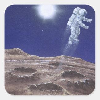 Astronuat above Mercury Square Sticker