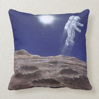 Astronuat above Mercury Throw Pillow