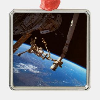 Astronuats Walking Silver-Colored Square Decoration