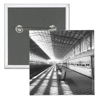 Aswan Egypt, Interior of Aswan Dam Train Station 15 Cm Square Badge