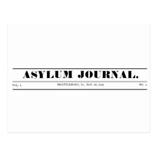 Asylum Journal 1842 Masthead Postcard
