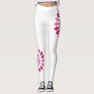 Asymmetrical Pinwheel Leggings - White/Pink